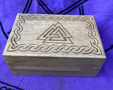 Load image into Gallery viewer, Handcrafted Wood Box with Valknut