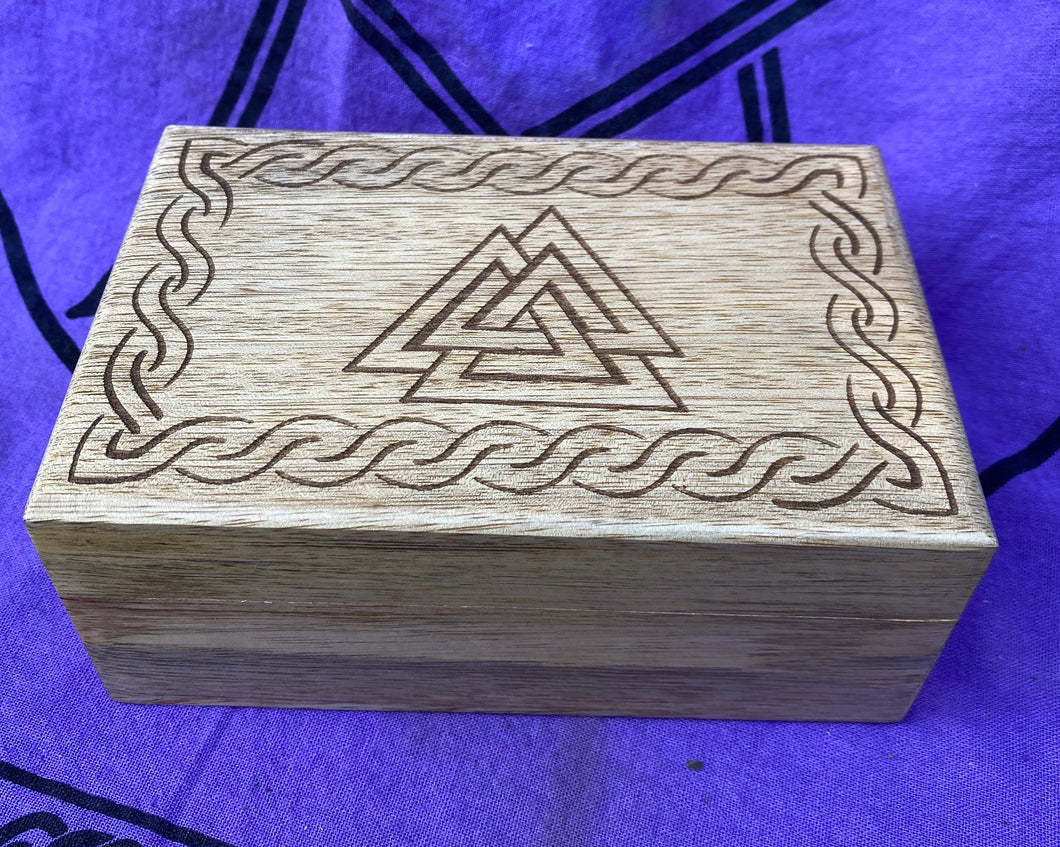 Handcrafted Wood Box with Valknut