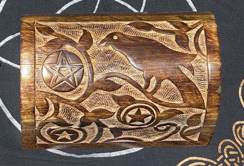 Curved Top Crow and Pentacle Box