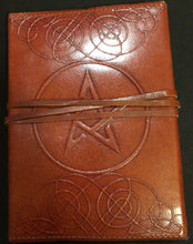 "Load image into Gallery viewer, Pentacle Leather Bound Blank Book 5""x7"""