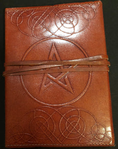 "Pentacle Leather Bound Blank Book 5""x7"""