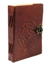 "Load image into Gallery viewer, Handmade Leather bound Wolf Journal 5""x7"""