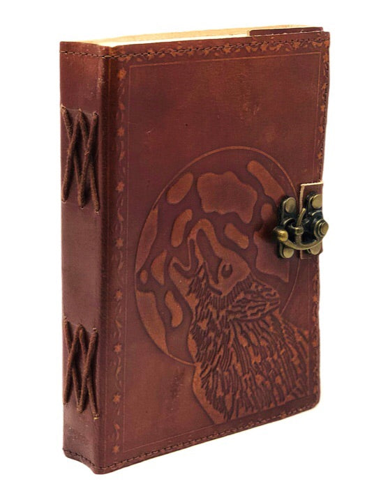 "Handmade Leather bound Wolf Journal 5""x7"""