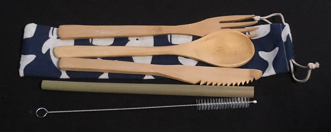 Bamboo Utensil Set with Straw