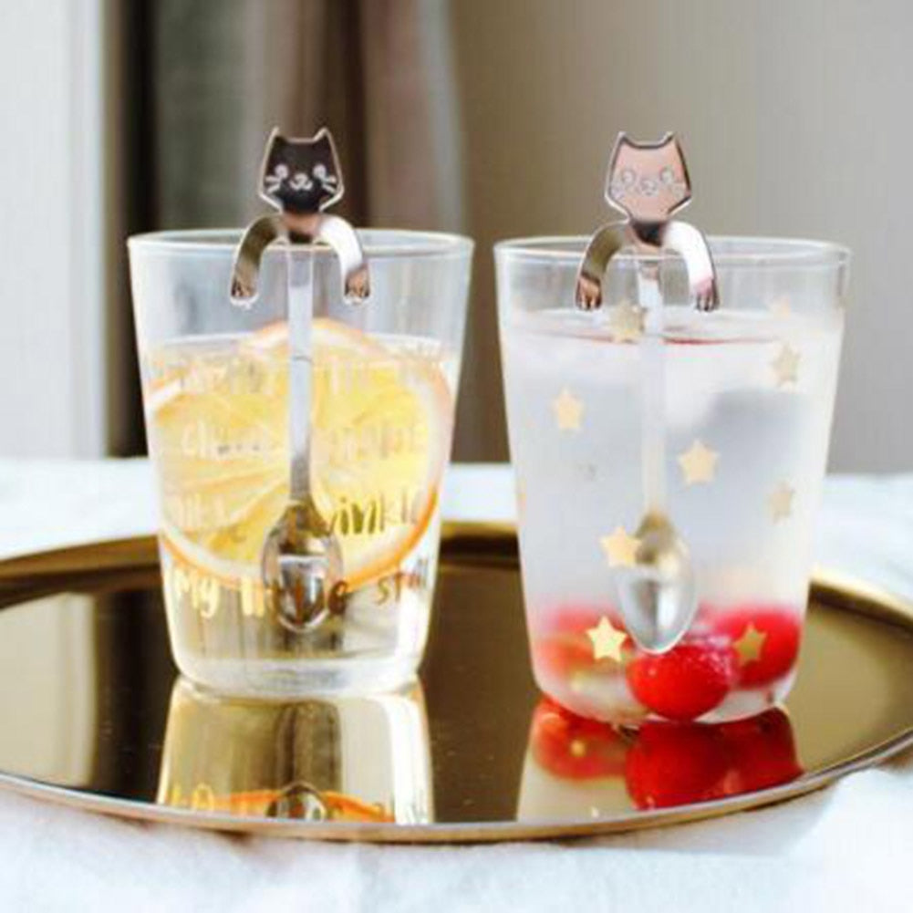 2 Pcs Stainless Steel Cat spoons Creative Ice Cream Dessert Long Handle Coffee &Tea Spoon Tableware Kitchen Tool
