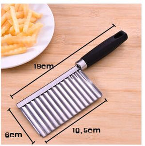 Stainless Steel Potato Edged Vegetable Crinkle Wavy Slicer Knife fruit Cutting Peeler for Kitchen Fruit Tools