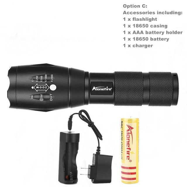 Aluminum Waterproof Zoomable Led Flashlight Torch