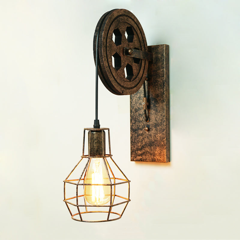 CE Loft retro lamp creative lifting pulley wall light
