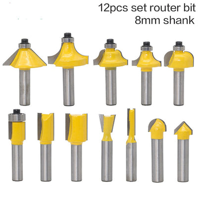 12pcs Milling Cutter Router Bit Set 8mm