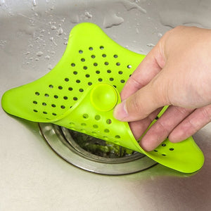 2018 New kitchen silicone five-pointed star filter bathroom sucker  set floor shower hair sewer filter colanders strainer