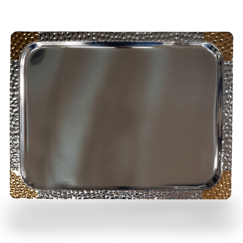 Rectangular Tray - Stainless Steel with Gold Design