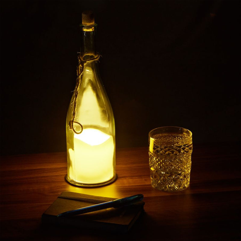 Bottle with LED Candle Light