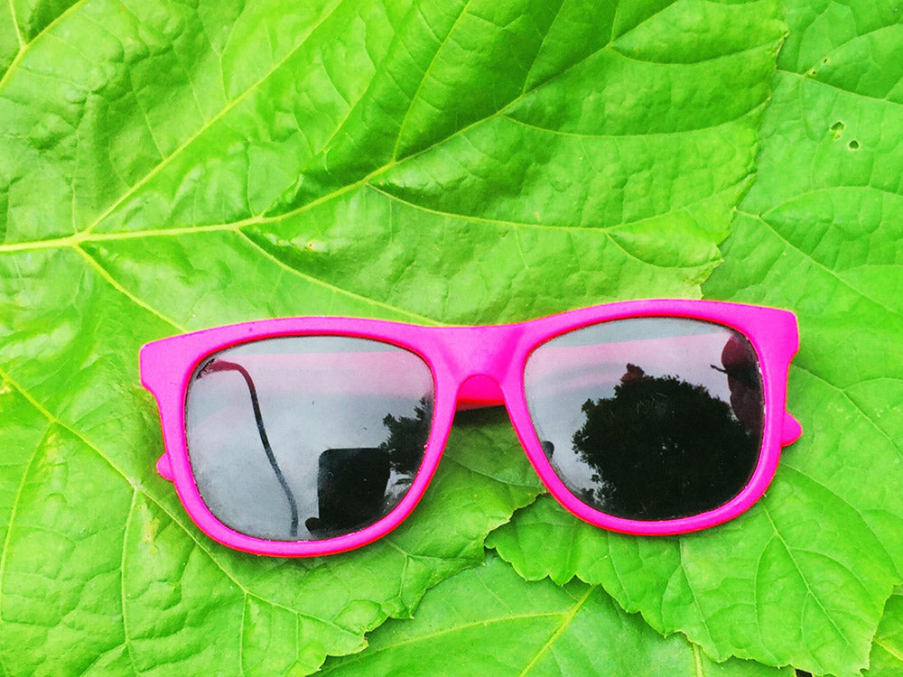 Glasses on leaf