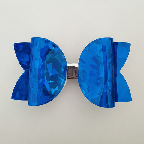 "Blue Holographic ""Maria"" Style Bow"