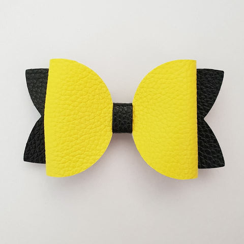 "Yellow and Black ""Maria"" Style Bow"