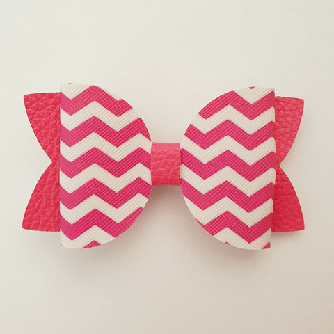 "Hot Pink Chevron ""Maria"" Style Bow"