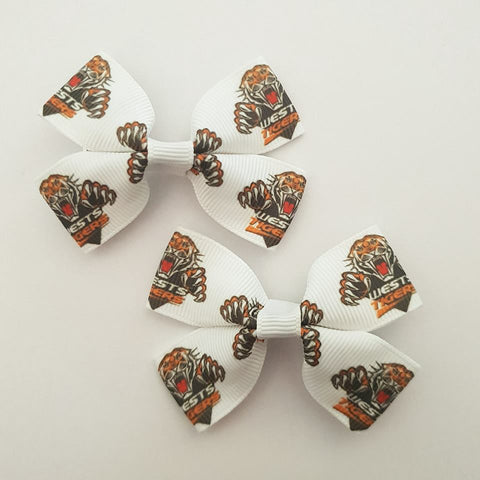 NRL Tigers RIBBON HAIR CLIPS