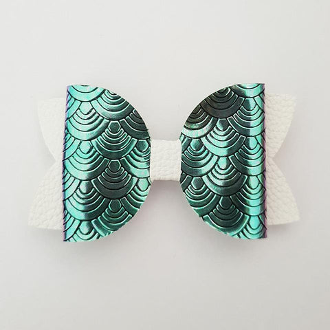 "Green to Purple Mermaid Scales ""Maria"" Style Bow"