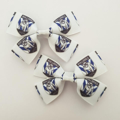 NRL Bulldogs RIBBON HAIR CLIPS