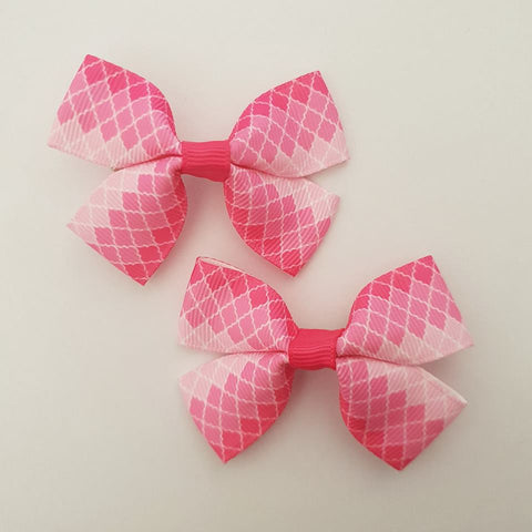 Pink Diamonds RIBBON HAIR CLIPS