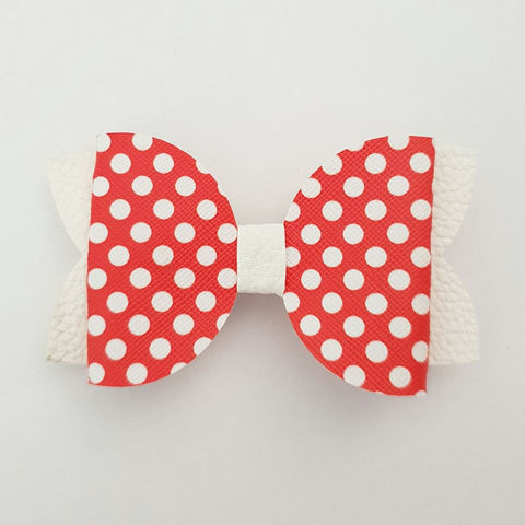 "Red Polka Dots ""Maria"" Style Bow"