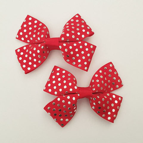 Red and Silver Polka Dots - Christmas RIBBON HAIR CLIPS