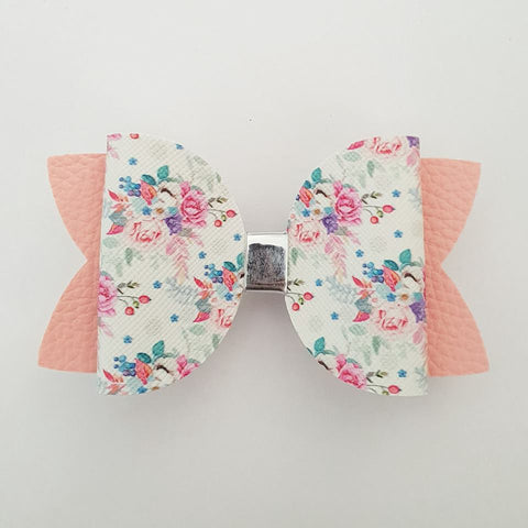 "Pink Floral ""Maria"" Style Bow"