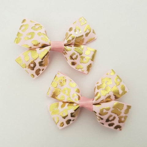 Pink and Gold Leopard RIBBON HAIR CLIPS