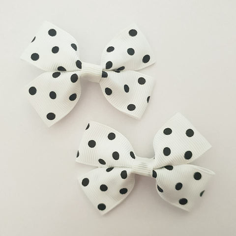 White and Black Polka Dots RIBBON HAIR CLIPS