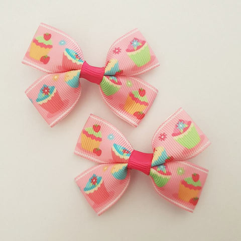 Cupcakes RIBBON HAIR CLIPS