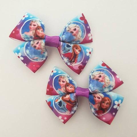 Frozen - Floral RIBBON HAIR CLIPS
