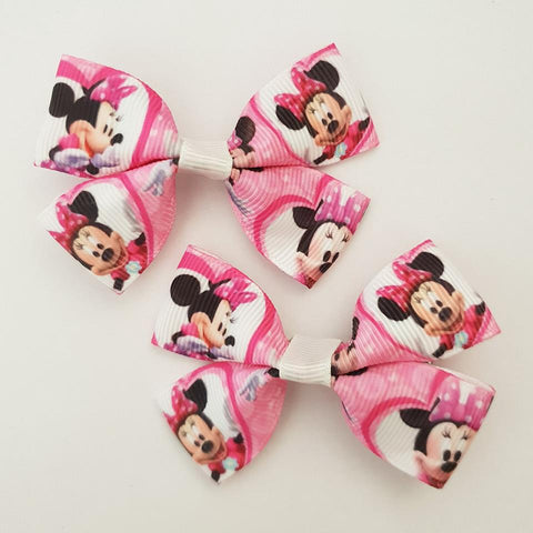 Minnie Mouse Pink/White RIBBON HAIR CLIPS