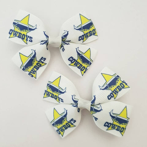 NRL Cowboys RIBBON HAIR CLIPS