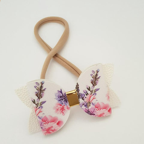 "Pink and Purple Floral ""Maria"" Style Bow Headband"