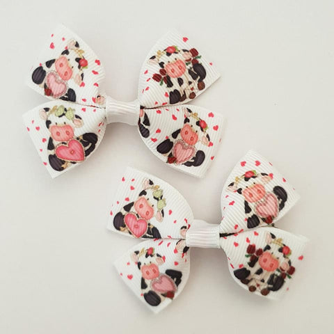 Cows RIBBON HAIR CLIPS