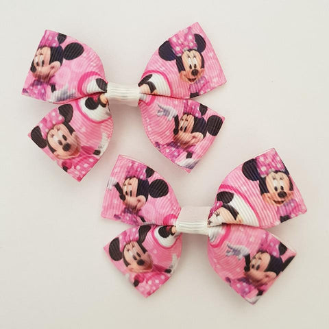 Minnie Mouse Pink RIBBON HAIR CLIPS