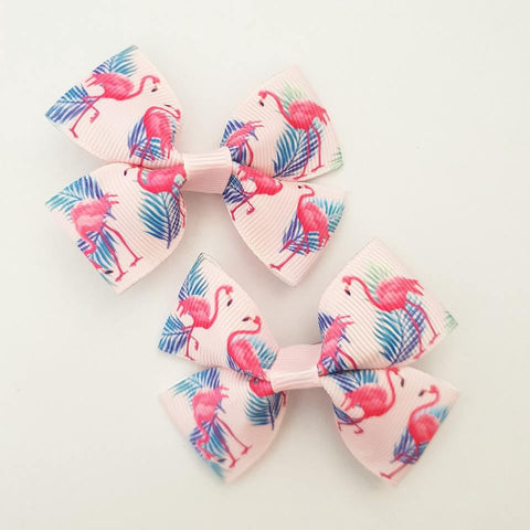 Flamingo - Pink RIBBON HAIR CLIPS