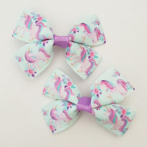 Unicorns and Flowers RIBBON HAIR CLIPS