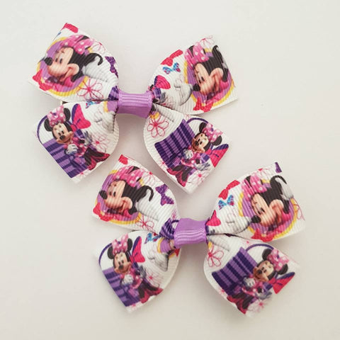 Minnie Mouse with Handbags RIBBON HAIR CLIPS
