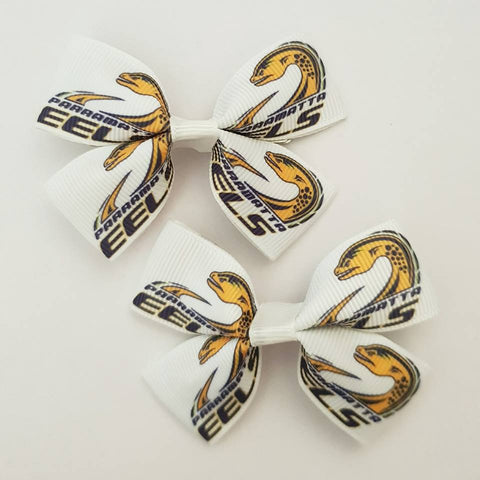 NRL Eels RIBBON HAIR CLIPS
