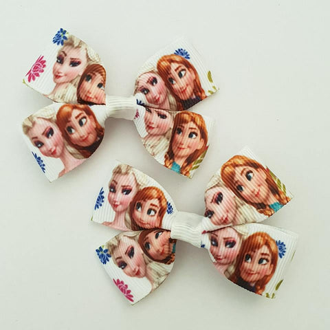 Frozen Elsa and Anna RIBBON HAIR CLIPS