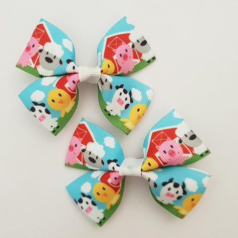 Farmyard Animals RIBBON HAIR CLIPS