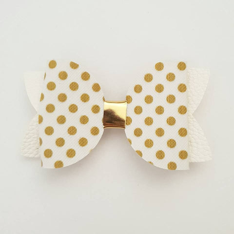 "White and Gold Polka Dots ""Maria"" Style Bow"