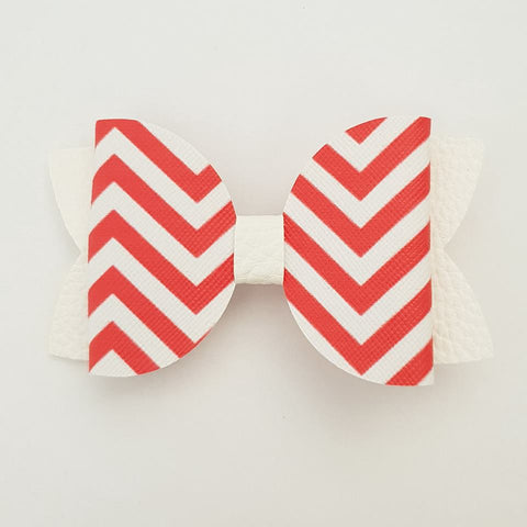 "Red and White Chevron ""Maria"" Style Bow"