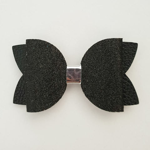 "Black and Silver ""Maria"" Style Bow"