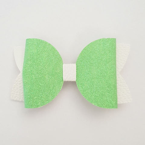 "Green and White ""Maria"" Style Bow"