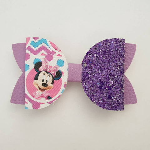 "Purple Minnie Mouse  ""Maria"" Style Bow"