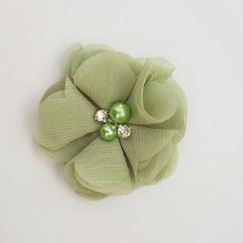Green Flower Hair Clip