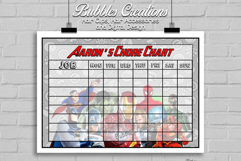 Super Heroes Chore Chart- Personalised