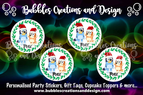 Personalised Christmas Stickers - Bluey & Bingo
